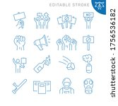 protest related icons. editable ... | Shutterstock .eps vector #1756536182