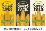 sweet corn labels in retro... | Shutterstock .eps vector #1756603235