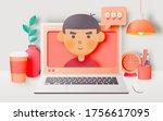 laptop on the desk in the house ...   Shutterstock .eps vector #1756617095