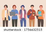 group of college boys flat... | Shutterstock .eps vector #1756632515
