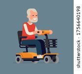 cheerful old man riding an... | Shutterstock .eps vector #1756640198