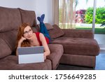 woman laying comfortably and at ... | Shutterstock . vector #1756649285