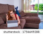 woman laying comfortably and at ... | Shutterstock . vector #1756649288