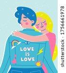 female lesbian couple hugging....   Shutterstock .eps vector #1756661978