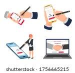 electronic signature  digital... | Shutterstock .eps vector #1756665215