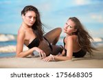 two sexy women posing on the... | Shutterstock . vector #175668305