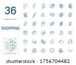 isometric line art icon set.... | Shutterstock .eps vector #1756704482