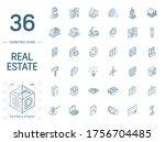 isometric line art icon set.... | Shutterstock .eps vector #1756704485