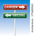 isolated danger and secure road ... | Shutterstock . vector #175680062