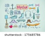 hipster style icons set for... | Shutterstock .eps vector #175685786