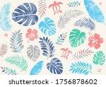 tropical summer leaf pop...   Shutterstock .eps vector #1756878602