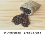 Coffee Beans In Sack Bag And...