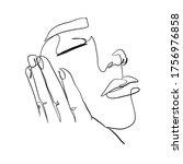 minimal line vector woman face. ... | Shutterstock .eps vector #1756976858