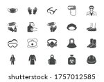 medical ppe flat icons. vector... | Shutterstock .eps vector #1757012585