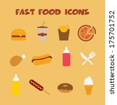 fast food icons  colorful... | Shutterstock .eps vector #175701752