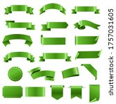 green labels and ribbon set...   Shutterstock . vector #1757031605