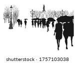 people under rain in a city  ... | Shutterstock .eps vector #1757103038