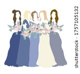 bridesmaids in blue gowns and... | Shutterstock .eps vector #1757105132