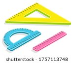 three rulers to draw straight... | Shutterstock .eps vector #1757113748