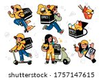 collection of delivery service  ... | Shutterstock .eps vector #1757147615