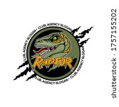 Scary Raptor in the center with open mouth. Team logo template.