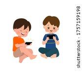 kids using smartphone gadget to ... | Shutterstock .eps vector #1757159198