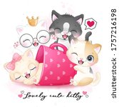 cute little kitty with...   Shutterstock .eps vector #1757216198
