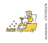 gardener driving a riding lawn... | Shutterstock .eps vector #1757332178