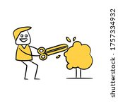 gardener using scissors to trim ... | Shutterstock .eps vector #1757334932