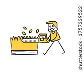 gardener using saw to trimming... | Shutterstock .eps vector #1757339522