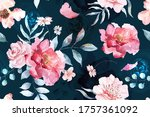 rose seamless pattern with...   Shutterstock . vector #1757361092