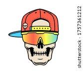 skeleton in the cap and sport... | Shutterstock .eps vector #1757361212