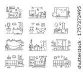 house icons set. line... | Shutterstock .eps vector #1757372495