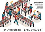 people visiting book fair 3d... | Shutterstock .eps vector #1757396795