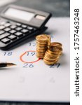 Small photo of Accountancy Concept. Accountant verify and review monthly saving and payment of Expense to Vendor or supplier for financial Business, Loan, Bookkeeping, Due date, Money