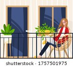 Woman Sitting Balcony Own...