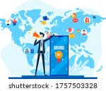 office worker talk loudspeaker  ... | Shutterstock .eps vector #1757503328