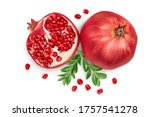 Pomegranate Isolated On White...