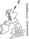 Uk Counties Map In White Color...
