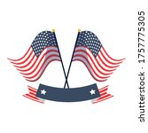 usa flags with ribbon design ... | Shutterstock .eps vector #1757775305