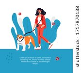 Woman Walking Dog. Cute Hand...
