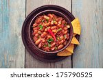 chili con carne in bowl with... | Shutterstock . vector #175790525