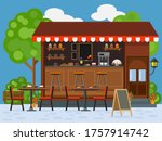 summer outdoor cafe. vector... | Shutterstock .eps vector #1757914742