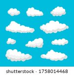 set of white clouds of various... | Shutterstock . vector #1758014468