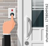 hand push the bell button at... | Shutterstock .eps vector #1758049562