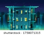 vector cartoon style night city ... | Shutterstock .eps vector #1758071315