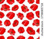 red flowers poppies vector... | Shutterstock .eps vector #1758085718