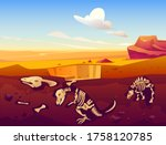 Fossil dinosaurs excavation, paleontology and archeology works. Vector cartoon illustration of desert landscape with buried skeletons of prehistoric reptiles underground