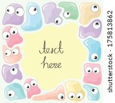 little cute monsters with text... | Shutterstock .eps vector #175813862