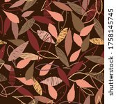 leaves. seamless pattern... | Shutterstock .eps vector #1758145745